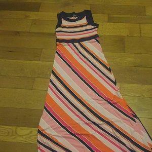 Land's End navy & orange striped maxi dress S / XS